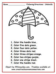 Umbrella worksheet with simple directions provides students practice reading number and color words. You can see more under the freebies tab at: www. Language Activities, Learning Activities, Teaching Resources, Therapy Activities, Speech Language Therapy, Speech And Language, Speech Therapy, Play Therapy, Following Directions Activities