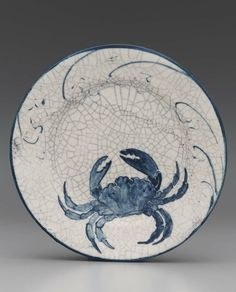 Dedham Pottery, crab plate, American, at The Boston Museum of Fine Arts Pottery Painting, Ceramic Painting, Pottery Art, Ceramic Art, Ceramic Pottery, Crab Painting, Ceramic Fish, Polish Pottery, Pottery Tools