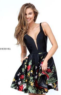 Sherri Hill 50776 Black/Multi Print V Neck Short Homecoming Dress Cheap Sherri Hill Prom Dresses Short, Short Dresses, Formal Dresses, Floral Homecoming Dresses, Buy Dress, Cheap Dresses, Flare Dress, Pretty Dresses, Evening Dresses
