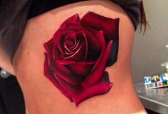 Realistic rose tattoo