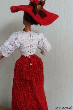 Cyber week sale Doll dress Crochet doll dress Victorian doll   Etsy Crochet Doll Dress, Crochet Barbie Clothes, Doll Clothes, Barbie Gowns, Barbie Dress, Victorian Dolls, Size Clothing, Cyber, Stitch Patterns