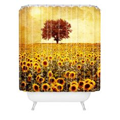 Viviana Gonzalez Lone Tree And Sunflowers Field Shower Curtain | DENY Designs Home Accessories
