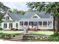 063H-0227: Country Ranch House Plan with Wrap-Around Porch