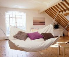 Le Beanock - Bean Bag Hammock WANT. This would amazing in an open space near a TV.