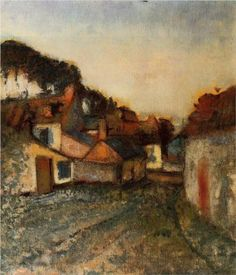 """Edgar Degas (1834-1917) - """"Village Street"""" - Oil on canvas - Private Collection."""