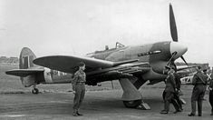 Rocket equipped Hawker Typhoon IB at RAF Northolt being inspected by the King. Air Force Aircraft, Ww2 Aircraft, Fighter Aircraft, Military Aircraft, Fighter Jets, Hawker Tempest, Hawker Typhoon, Air Machine, Hawker Hurricane
