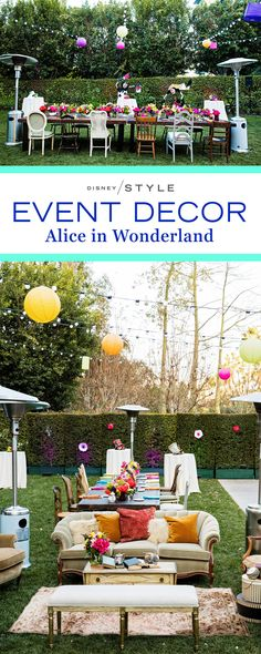 Alice in Wonderland inspired Vow Renewal. Mad Tea Party and outdoor event decor inspiration that looks straight out of Wonderland. | [ http://blogs.disney.com/disney-style/lifestyle/2016/02/17/painting-the-roses-red-at-an-alice-in-wonderland-inspired-vow-renewal/ ]