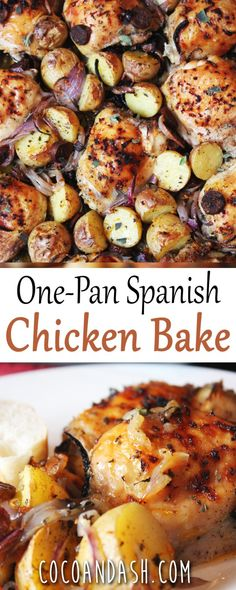 One Pan Spanish Chicken Bake! This chicken is baked and it's so easy to make and so full of flavor!! One Pan Spanish Chicken Bake. #chicken #baked #bakedchicken