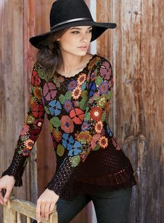 Superbly handcrocheted blooms form a millefiori mosaic of exuberant color on the lacy black ground—a work-of-art pullover, rendered in dozens of pima hues. Crochet Coat, Crochet Cardigan, Crochet Clothes, Freeform Crochet, Irish Crochet, Hand Crochet, Pullover Upcycling, Smocks, Crochet Flowers