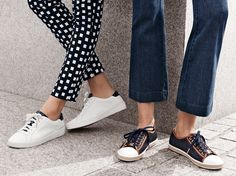 Stay two steps ahead of the trend with sport-luxe sneakers in navy and white.  #StyleTip