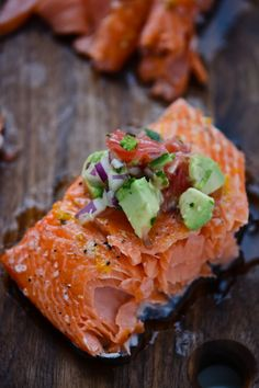 Slow roasted salmon with grapefruit avocado salsa