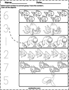 Ocean Animals Count And Match Numbers Worksheets Summer images ideas from Worksheets Ideas Shark Activities, Activities For 1 Year Olds, Kindergarten Math Activities, Preschool Writing, Dinosaurs Preschool, Math Under The Sea, Printable Preschool Worksheets, Writing Numbers, Kids Learning