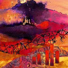 Fantasia mixed media abstract landscape Carol Nelson Fine Art, painting by artist Carol Nelson