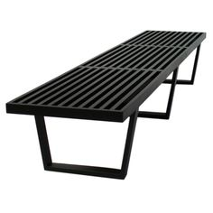 Vintage black Nelson Bench to use on one side of the desk. Imagine piles of books on top
