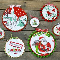 Make a fun hoop collage for the holidays with vintage fabric scraps and a little trim