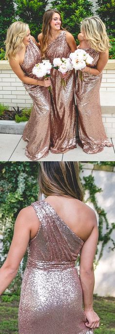 one shoulder rose gold bridesmaid dresses,elegant wedding party dresses, sparkle evening dresses, vestidos, klied