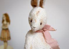 Made to order White Mohair Bunny Kesha Artist Teddy Bears - Stuffed Rabbit - Soft Toy Bunny - Stuffed Animal