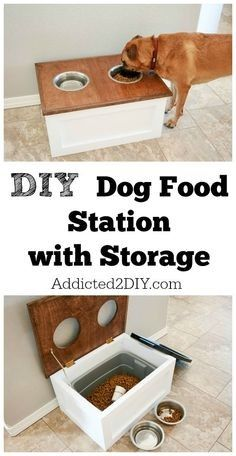 DIY Storage Ideas - DIY Dog Food Station with Storage - Home Decor and Organizin. DIY Storage Ideas - DIY Dog Food Station with Storage - Home Decor and Organizing Projects for The Bedroom, Bathroom, Living Room, Panty and. Do It Yourself Furniture, Diy Furniture, Furniture Plans, Do It Yourself Projects, Handmade Furniture, Recycling Furniture, Shaker Furniture, Building Furniture, Do It Yourself Organization