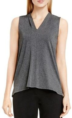Vince Camuto Womens V-Neck Sleeveless Casual Top