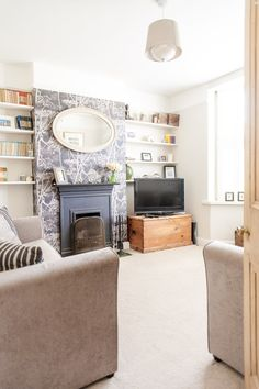 Living Room:Top Ideas Of Farmhouse Living Room Mirrors For Beautiful Décor Classic Table Lamp Sofa Farmhouse Decor Living Room Living Room Side Table DIY Table Living Room Farmhouse Window Mirror Coffe Table Colorful Pillows Living Room Mirrors, New Living Room, Living Room Decor, Living Spaces, Victorian Living Room Wallpaper, Aesthetic Room Decor, Front Rooms, Victorian Homes, Victorian Terrace