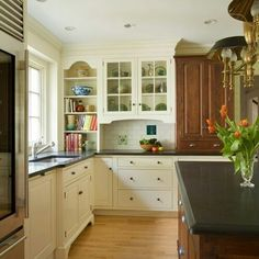 Kitchen Renovation Photo Gallery by Heartwood Kitchen Cabinetry in Danvers, MA Small Galley Kitchens, Home Kitchens, Farmhouse Kitchens, Country Kitchens, Dr Kitchen, Kitchen Ideas, Rustic Kitchen, Glass Cabinet Doors, Glass Cabinets