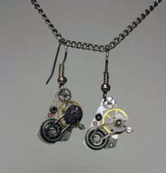 Steampunk Earrings Vintage Watch Movements Gothic by 20century, $25.00