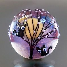 Pikalda : Handmade lampwork 1 glass bead focal-'Black Cat'-SRA-make to order. $60.00, via Etsy.