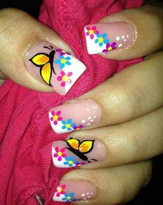 Heat Up Your Life with Some Stunning Summer Nail Art Butterfly Nail Designs, Butterfly Nail Art, Nail Art Designs, Fancy Nails, Pretty Nails, French Tip Nails, French Manicures, French Tips, Flower Nails