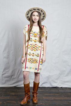 Cream Huipil Shift Dress
