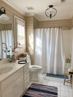 The Best Way to Remove Wallpaper Using a Chemical Free Steam Cleaner Painting Bathroom Cabinets, Bathroom Wallpaper, Upstairs Bathrooms, Grey Bathrooms, Removing Old Wallpaper, Touch Of Gray, Steam Cleaners, Pretty Room, Paint Samples