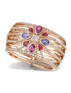 San Marco cuff in 18 kt pink gold with diamonds and pink, blue and red spinels by Chanel