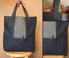 Large market bag Large tote bag Denim tote bag by HandMadejesty