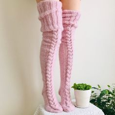 We love wearing thick socks in the winter and so do you. But why stop the warm feeling at the calf when you can get all the way up to the knee with our Thigh High Socks, Over Knee Socks, Thigh Highs, Slouch Socks, Cozy Socks, Woolen Socks, Winter Socks, Winter Wear, Angora