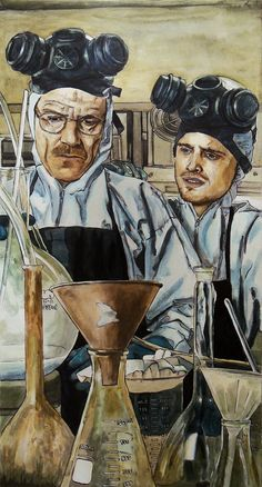 Walt and Jesse from Breaking Bad in ink and paint on canvas.