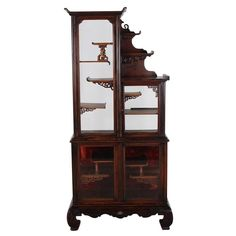 For Sale on - This wonderful display cabinet is designed in an Orientaliste style, which was popular in Europe in the Mid-Late Century. This craze was kick-started Asian Furniture, Display Shelves, Display Cabinets, Cabinet Styles, Beveled Glass, Red Fabric, L Shape, Glass Door, French Antiques