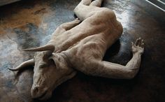 A sculpture by Emil Alzamora. This shows what we only imagine in BULL. Note how sorrowful the expression, the twisted unnatural way the body has fallen. Broken.