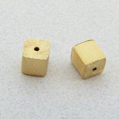 Brushed Matte Vermeil Puffed Square Cube Focal by BeadingHeartCo $7 & $5