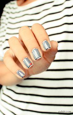 Nail art white stripes b