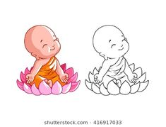 Little cartoon monk on the lotus. Page for coloring book. Vector illustration isolated on a white background. Buddha Tattoo Design, Buddha Drawing, Buddha Painting, Baby Buddha, Little Buddha, Buddha Kunst, Buddha Art, Lotus, Wall Painting Decor
