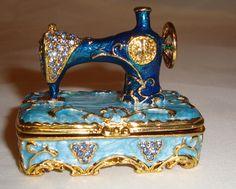 Trinket Box Sewing Machine Mini Metal Enamel Hinged Trinket Box Turquoise Swarov