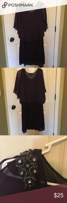 20W R&M Richard's Eggplant Cocktail Dress Beautiful Eggplant cocktail dress worn once for an event.  No visible wear.  Cold should with lace skirt and beaded shoulder accents. R & M Richards Dresses Midi