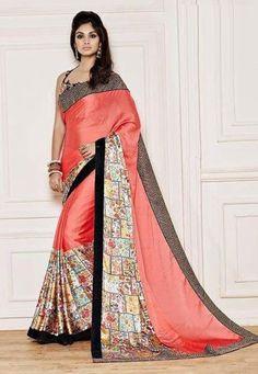 """Well-behaved #women seldom make history.""  Peach #Color Net / Silk / Georgette Designer #Saree"