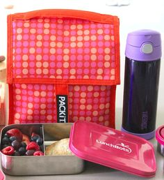 Pack It lunchboxes have ice packs sewn into the lining and keep lunch foods cool all day.