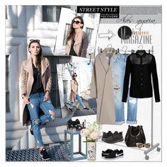 """Street Style: Coat + Jeans"" by alves-nogueira ❤ liked on Polyvore featuring Freebird, Muji, Enföld, Genetic Denim, Armani Jeans, NIKE, Rachael Ruddick, Palecek, Fendi and Smashbox"