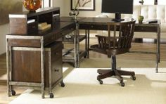 Structure 5 Pc Office Set by Hammary. $2488.50. Includes credenza desk, desk chair, corner table, rolling file cabinet and computer desk. Hutch is optional. Metal frame with wood surface. Limited warranty. Assembly required. Desk with three drawers. Chair with casters. corner table with two layer shelf. File cabinet with one file drawer and box drawers Optional hutch:. Two doors. Three open shelves. Credenza desk: 54 in. W x 20 in. D x 30.5 in. H. Desk chair: 22.75 in. W x 21...
