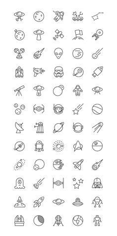 Free Space iOS Line Icons Set
