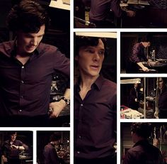 Sherlock and his purple shirt. Oh he looks so good in this shirt <3