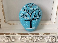 Winter Tree Painted Rock Tree in Snow Hand Painted Rock