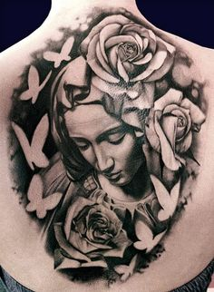 Realistic black and gray Virgin mary tattoo works by Matteo Pasqualin Dream Tattoos, Time Tattoos, Back Tattoos, Body Art Tattoos, Sleeve Tattoos, Mary Tattoo, Tattoo Skin, Trendy Tattoos, Tattoos For Guys