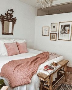 antique-inspired bedroom with blush accents